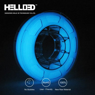 Glow in the dark - Blue- HELLO3D PREMIUM PLA  Filament 1.75mm - 1KG