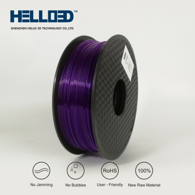 Transparent - Purple - HELLO3D PREMIUM PLA  Filament 1.75mm - 1KG