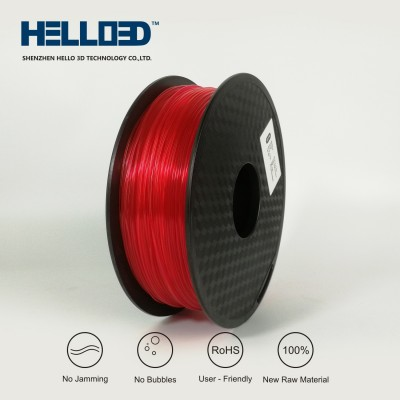 Transparent - Red - HELLO3D PREMIUM PLA  Filament 1.75mm - 1KG