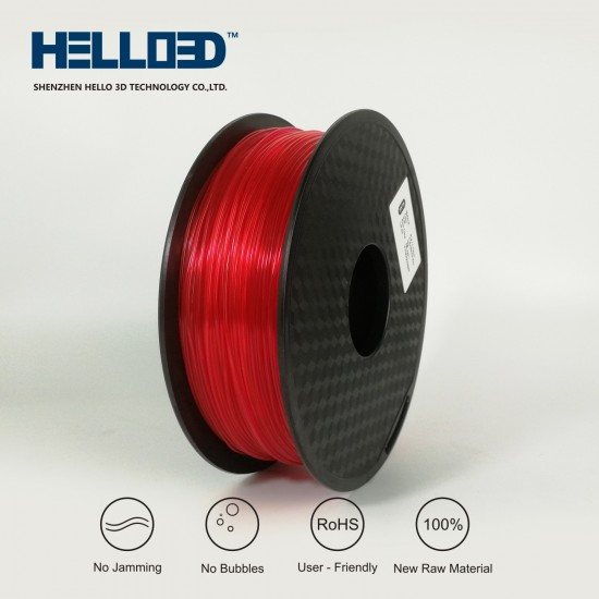 Transparent - Rouge - HELLO3D PREMIUM PLA  Filament 1.75mm - 1KG